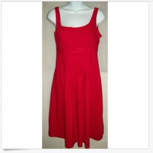 Chaps Dress Sz 6 Red Sleeveless Cotton Pleated